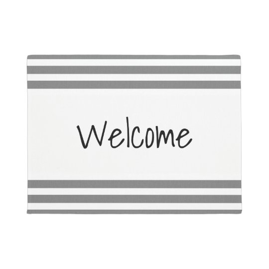 Grey & White Striped Custom Door Mat