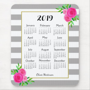 Grey White Striped Floral Monogram 2019 Calendar Mouse Mat