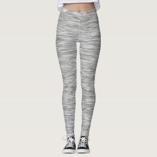 Grey White Striped Leggings