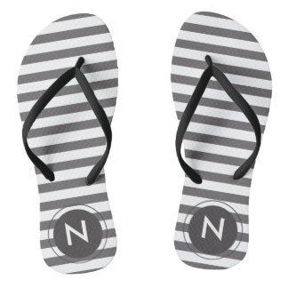 Grey & white striped Monogrammed Flip flops
