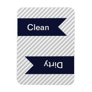 Grey & White Striped Pattern Dishwasher Magnets