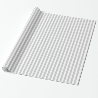 Grey & White Striped Pattern Wrapping Paper