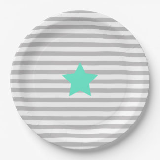 Grey & white stripes and teal star - Paper Plates 9 Inch Paper Plate