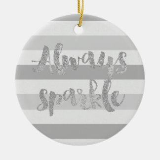 Grey White Stripes Sparkle Christmas Ornament