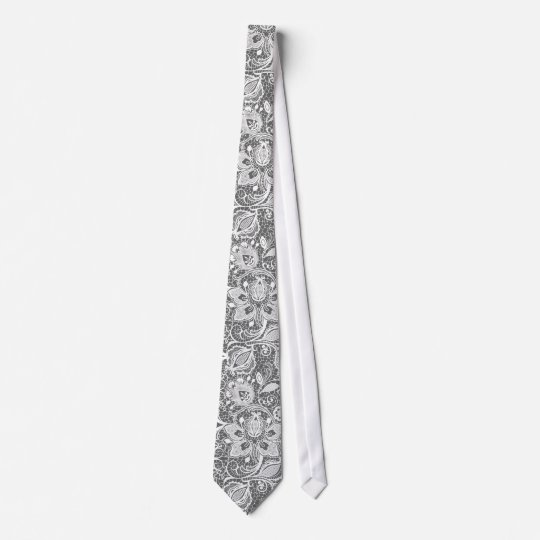Grey & White Vintage Floral Lace Tie