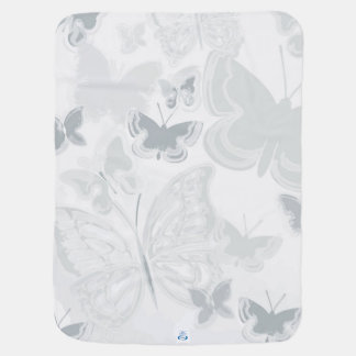 Grey White Watercolor Butterflies Flying Butterfly Baby Blanket