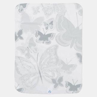 Grey White Watercolor Butterflies Flying Butterfly Receiving Blankets