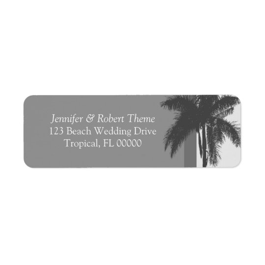 Grey White Wedding Colours Palm Tree Address Return Address Label