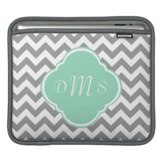 Grey & White Zigzag Custom Monogram iPad Sleeve