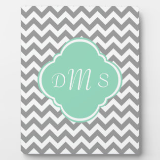 Grey & White Zigzag Custom Monogram Plaque