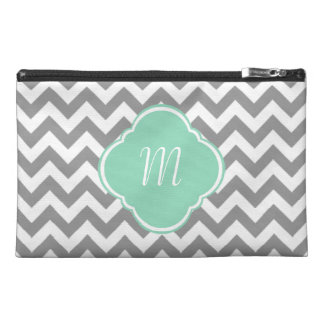 Grey & White Zigzag Custom Monogram Travel Accessory Bag