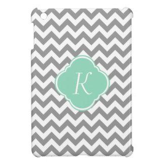 Grey & White Zigzag Stripe Custom Monogram iPad Mini Case