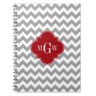 Grey Wht Chevron Cranberry Quatrefoil 3 Monogram Notebook