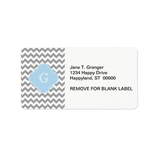 Grey Wht Chevron Lt Blue Quatrefoil Monogram Label
