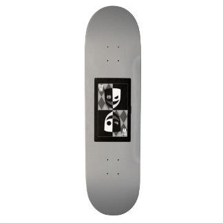 Grey Wilcard Faces Skateboard Deck