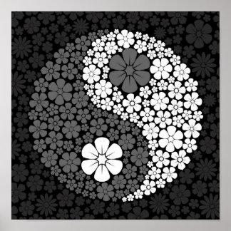 Grey Wild Flowers Yin Yang Print