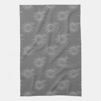 Grey Winter Holiday Reindeer Pattern Art Design Tea Towel