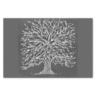 Grey Winter Tree Tissue Paper