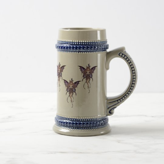 Grey with Blue Fairies Butterfly Stein