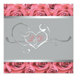 Grey with Coral Pink Roses Monogrammed Invitation 13 Cm X 13 Cm Square Invitation Card