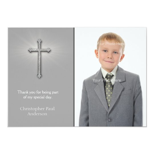 Grey with Cross, Religious Photo Card