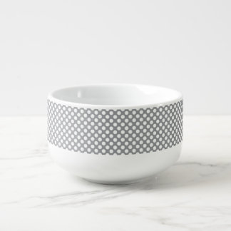 Grey with large white polka dots soup bowl with handle