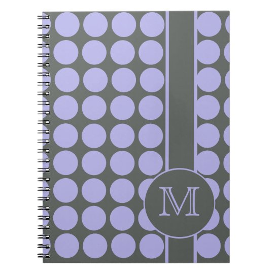 Grey with Lavender Polka Dots School Spiral Notebook