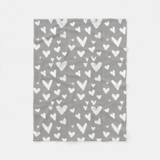 Grey with White Hearts Fleece Blanket