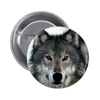 Grey Wolf 6 Cm Round Badge