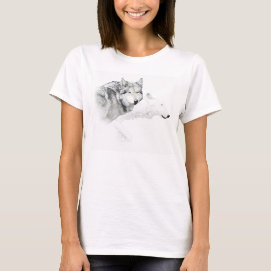 grey wolf and white wolf T-Shirt