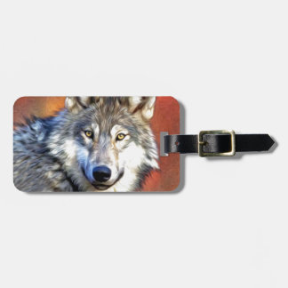 Grey Wolf Art Painting Luggage Tag