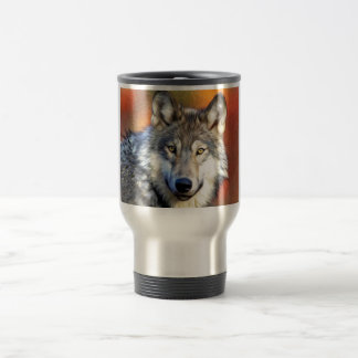 Grey Wolf Art Painting Travel Mug