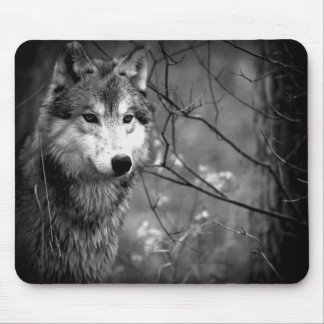 Grey Wolf - Black and White Mouse Mat