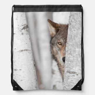 Grey Wolf (Canis lupus) Behind Tree Drawstring Bag