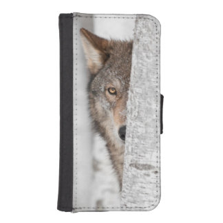 Grey Wolf (Canis lupus) Behind Tree iPhone SE/5/5s Wallet Case
