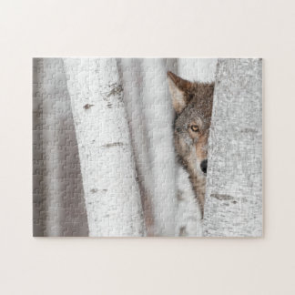 Grey Wolf (Canis lupus) Behind Tree Jigsaw Puzzle
