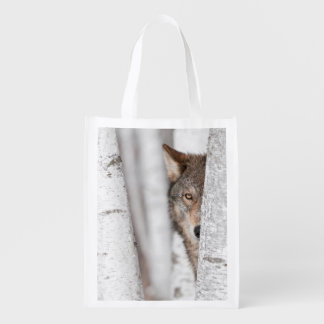 Grey Wolf (Canis lupus) Behind Tree Reusable Grocery Bag