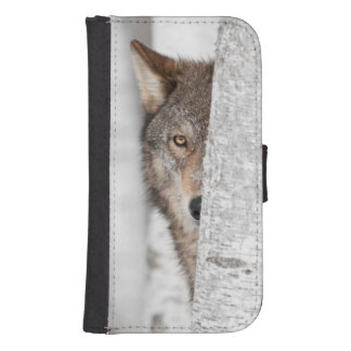 Grey Wolf (Canis lupus) Behind Tree Samsung S4 Wallet Case