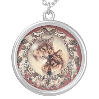 Grey wolf couple necklace