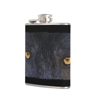 Grey Wolf Eyes - Wildlife-lovers Art Hip Flask