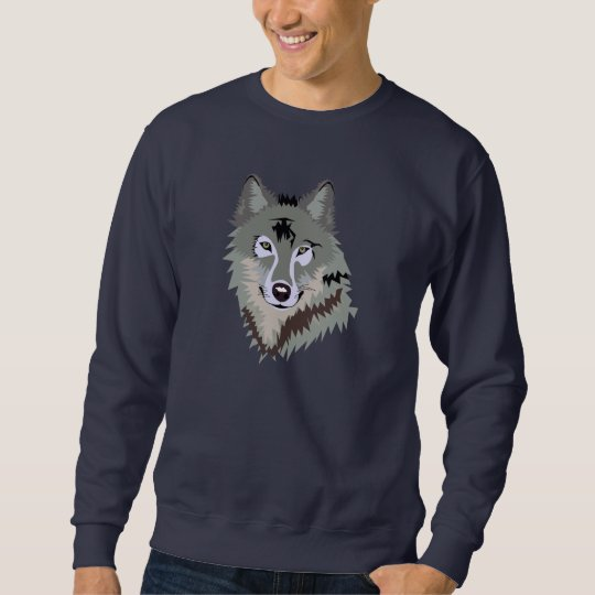 Grey Wolf Face Drawing Sweatshirt
