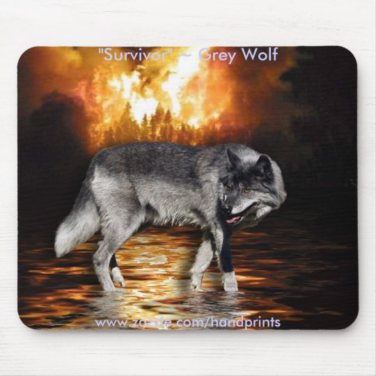 Grey Wolf & Forest Fire Mouse Pad