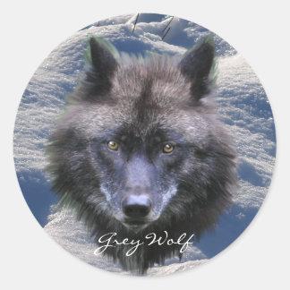 GREY WOLF HEAD & SNOW Wildlife Supporter Stickers