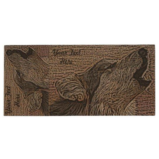 grey wolf howling wildlife painting realist art wood