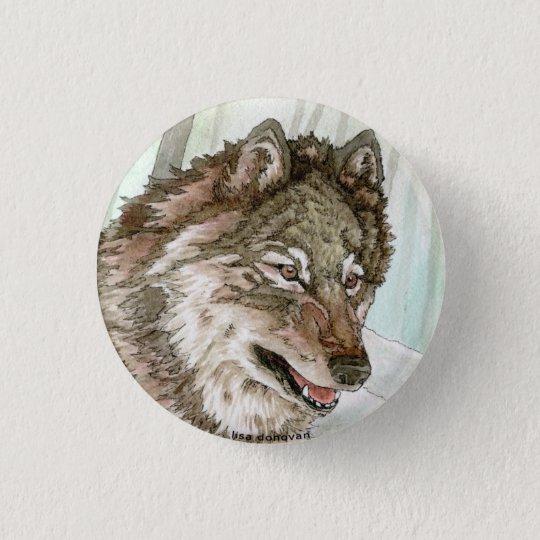 Grey Wolf Illustration Pin