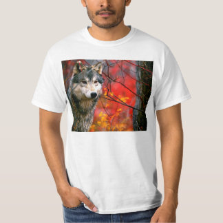 Grey Wolf in Beautiful Red and Yellow Foliage T-Shirt