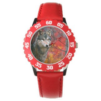 Grey Wolf in Beautiful Red and Yellow Foliage Wrist Watch
