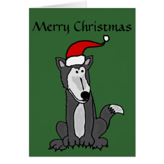 Grey Wolf in Santa Hat Art Card
