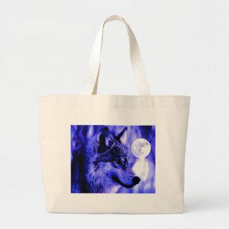 Grey Wolf & Moon Jumbo Tote Bag