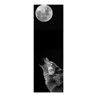 Grey Wolf & Moon Panoramic Poster Print